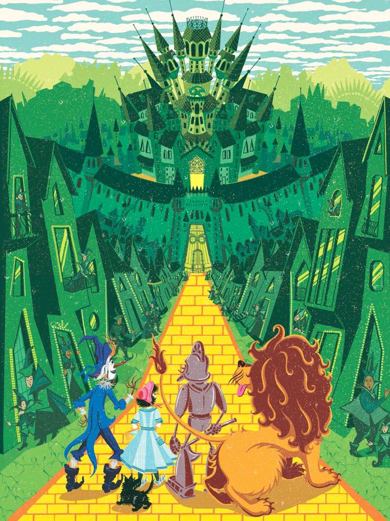A MinaLima image of Dorothy and friends on the yellow brick road, just outside the Emerald City