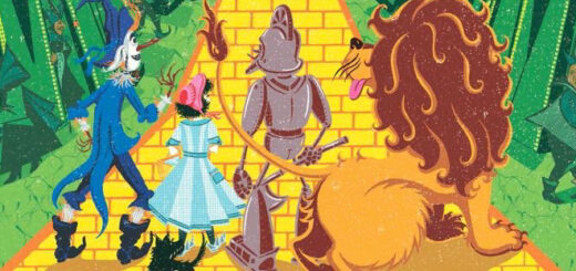 Dorothy and friends on the yellow brick road facing the Emerald City