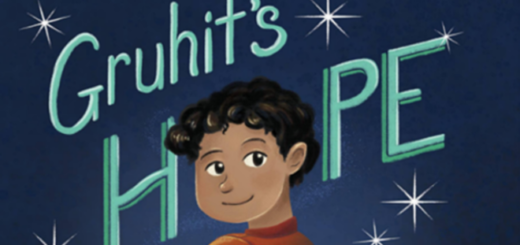 """The cover of """"Gruhit's Hope"""" by Darren Fink is shown as a featured image. The artwork, by Alexandra Brodt, features a young boy with dark skin, eyes, and hair against a blue background."""