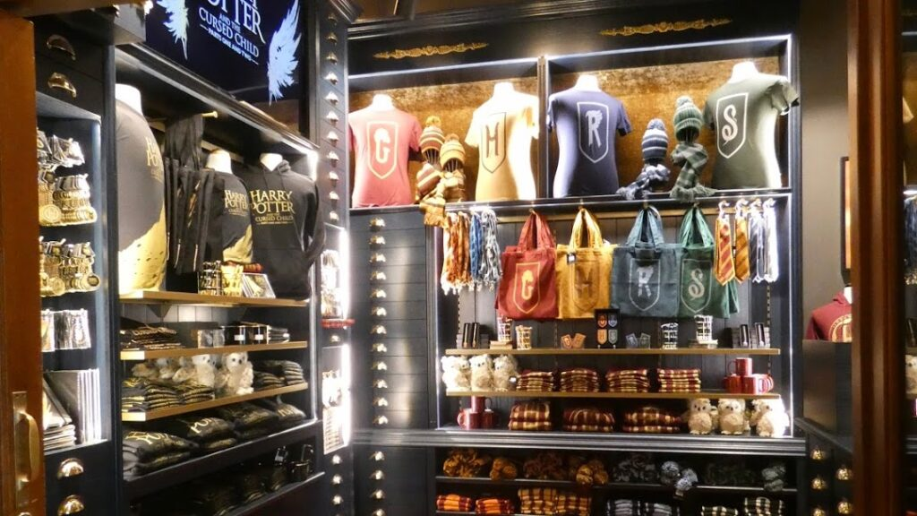 """""""Harry Potter"""" merchandise on display at the Mehr! Theater"""