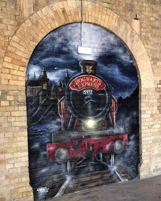 A Wall Mural of the Hogwarts Express at Spalding Railway Station, UK
