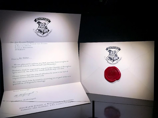 These Hogwarts letters can be found in the Harry Potter Photographic Exhibition.