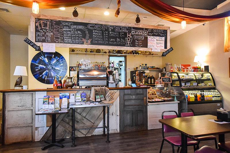 The counter at Muggles Mug coffee shop in Jim Thorpe, PA