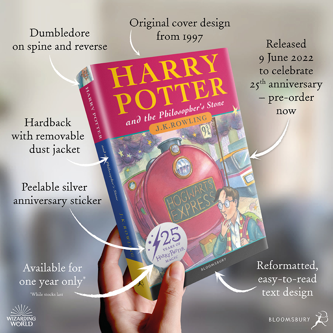"""Diagram showing the features of the 25th anniversary edition of """"Philosopher's Stone"""""""