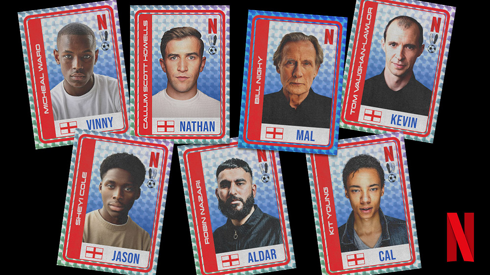 """Player cards featuring the cast of Netflix's """"The Beautiful Game""""."""