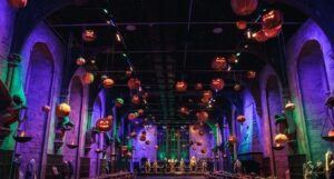 The Great Hall at Warner Bros. Studio Tour London - The Making of Harry Potter decorated for Halloween.