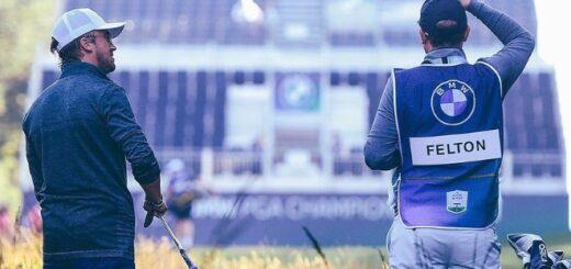 Tom Felton playing golf last week.