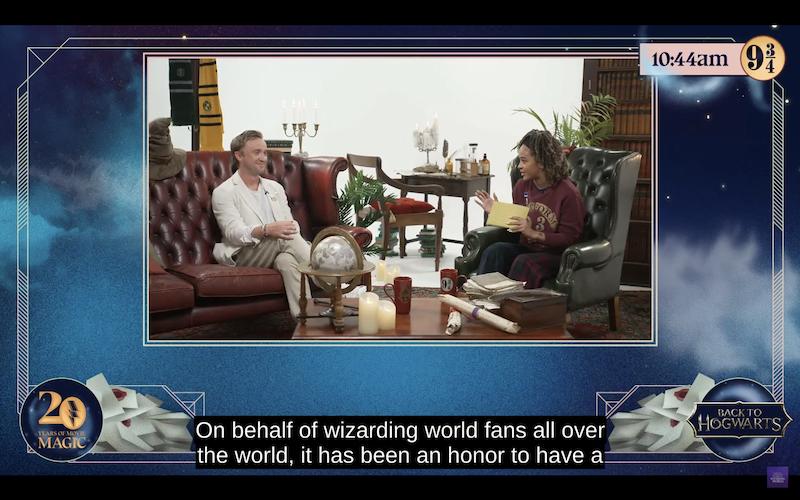 Tom Felton and Yinka Bokinni during the Back To Hogwarts livestream.