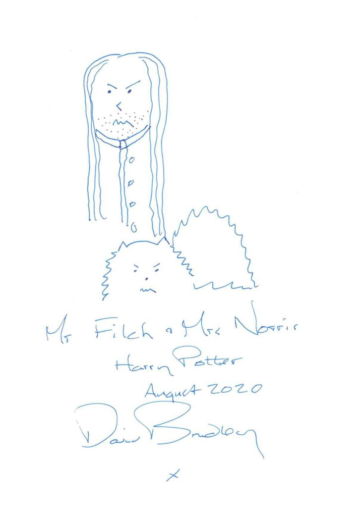 David Bradley returns to Doodle Day with another sketch of Mr. Filch and Mrs. Norris.