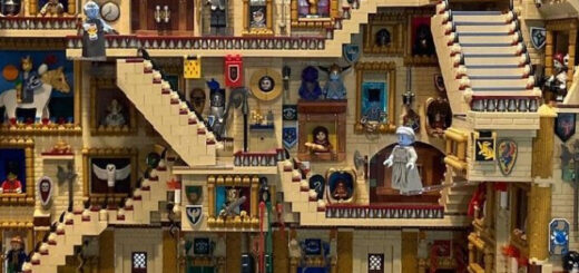 Eric Law's LEGO Hogwarts creation with moving staircases