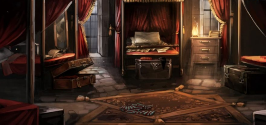 """Artwork from Pottermore (now Wizarding World Digital) depicts the Gryffindor boys' dormitory, similar to its appearance in the """"Harry Potter"""" film series."""