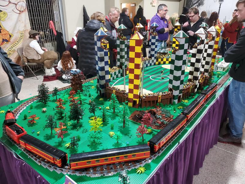 A LEGO Quidditch pitch built by Oki Lug