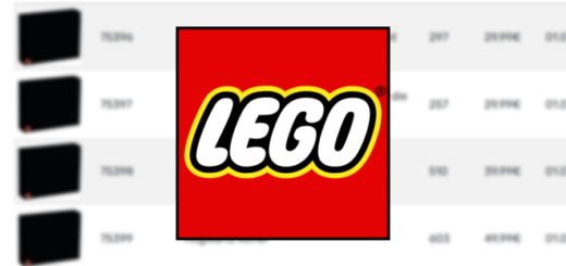 The LEGO Group logo is shown in the foreground of a blurred screenshot of the website Promobricks.
