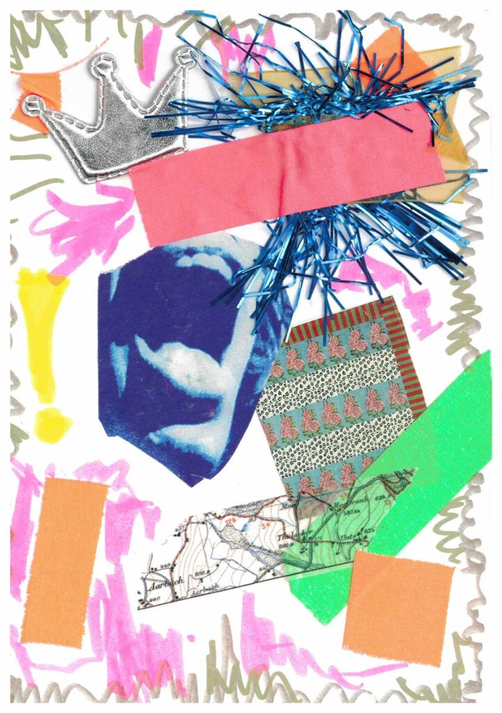 Zoë Wanamaker's doodle is a collage of various items surrounded by marker scribbles.