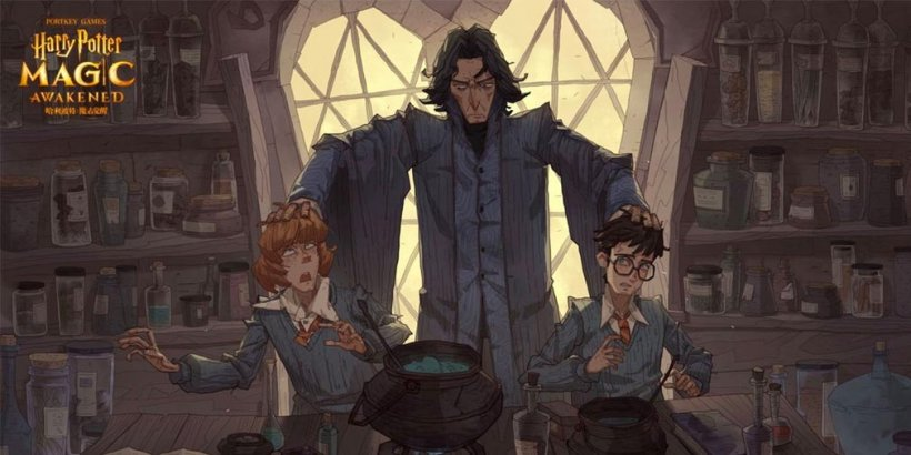 """Screenshot of """"Harry Potter: Magic Awakened"""" showing Severus Snape holding Ron's and Harry's heads in Potions class"""