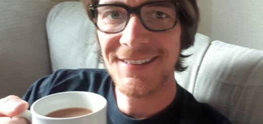 James Phelps with a cup of tea.