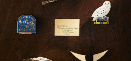 The Harry Potter Essentials pins from the Harry Potter Fan Club are shown against a wooden background.