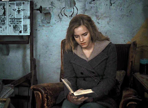 This is a picture of Hermione reading.