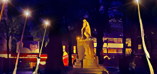 A mock-up of the upcoming wand installation at Leicester Square Gardens is shown.